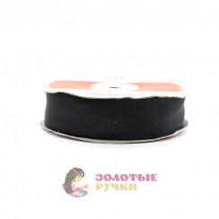 Лента репсовая в рулонах по 30 ярдов, ширина 25 мм, цвет черный