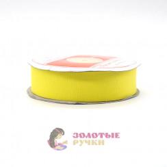 Лента репсовая в рулонах по 30 ярдов, ширина 25 мм, цвет желтый