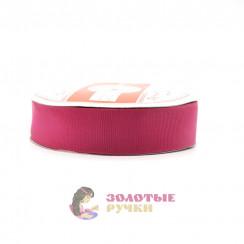 Лента репсовая в рулонах по 30 ярдов, ширина 25 мм, цвет малина