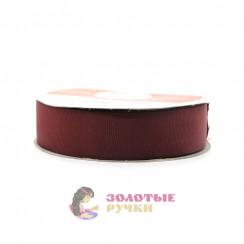 Лента репсовая в рулонах по 30 ярдов, ширина 25 мм, цвет бордовый