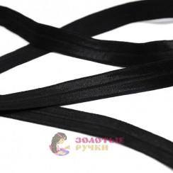 Косая бейка эластичная, в упаковке 100 метров, ширина 15 мм, цвет черный