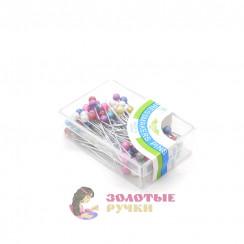 Булавки с цветными головками в пластиковые упаковке