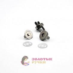 Кнопки магнитные, 15мм цвет темно никель в упаковке 20 комплектов