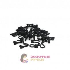 Крючки бельевые с пет. большие обтянутые тканью в упаковке 20 шт - цвет черный