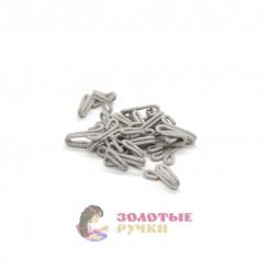 Крючки бельевые с пет. большие обтянутые тканью в упаковке 20 шт - цвет серый
