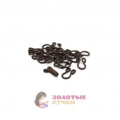 Крючки бельевые с пет. большие обтянутые тканью в упаковке 20 шт - цвет коричневый