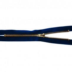 Молния джинсовая латунь тип 5. 18 см замок полуавтомат- цвет темно синий