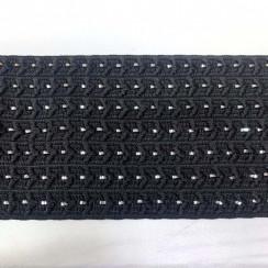 Лента эластичная декоративная с люрексом (резинка) (уп 10 м) ш.70 мм черный