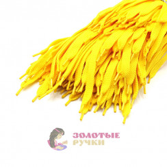 Шнурки кроссовочные, длина - 100 см, ширина - 17 мм,  (уп 50 пар ) цвет желтый