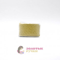 Шнур витой двухпрядный, диаметр 3 мм цвет золото