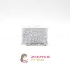 Шнур витой двухпрядный, диаметр 3 мм цвет серебро