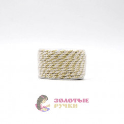 Шнур витой двухпрядный, диаметр 3 мм (золото) - цвет белый