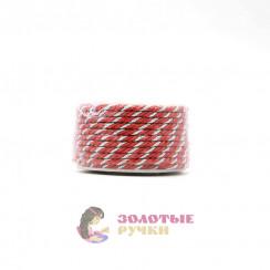 Шнур витой двухпрядный, диаметр 3 мм (серебро) - цвет красный