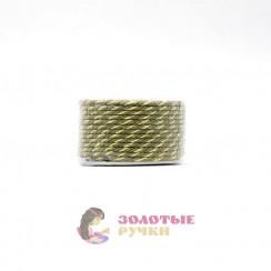 Шнур витой двухпрядный, диаметр 3 мм (золото) - цвет хаки