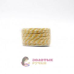 Шнур витой двухпрядный, диаметр 3 мм (золото) - цвет бежевый и желтый