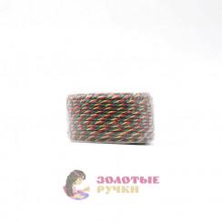 Шнур витой двухпрядный, диаметр 3 мм (золото) - цвет зеленый и красный