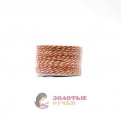 Шнур витой двухпрядный, диаметр 3 мм (золото) - цвет красный
