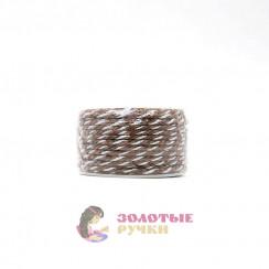 Шнур витой двухпрядный, диаметр 3 мм (серебро) - цвет коричневый