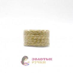 Шнур витой двухпрядный, диаметр 3 мм (серебро) - цвет белый