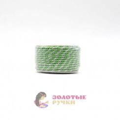 Шнур витой двухпрядный, диаметр 3 мм (серебро) - цвет зеленый