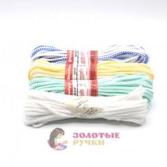 Шнур бытовой полиэфирный, 5 мм, белый - цветной (20 метров)