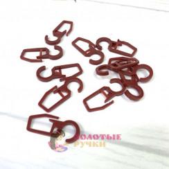 Крючки для штор, на кольцо 100шт, цвет черешня