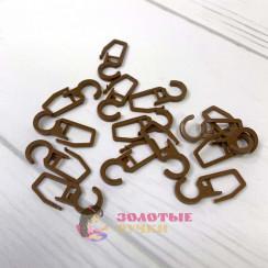 Крючки для штор, на кольцо 100шт, цвет светло коричневый