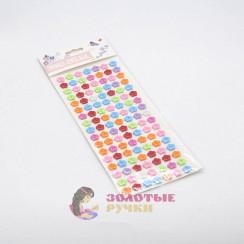 Пуговицы декоративные самоклеющиеся на листе, цвет Ассорти d-14мм