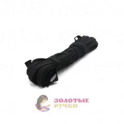 Резинка вздёжка 0,7мм чёрная, намотка 5 метров в упаковке 10шт