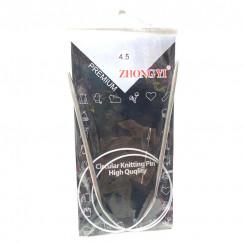 Спицы для вязания круговые металлические  на тросике 80см 4,5 мм