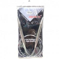 Спицы для вязания круговые металлические  на тросике 80см 10,0 мм