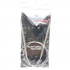 Спицы для вязания круговые металлические  на тросике 80см 5,5 мм