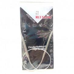 Спицы для вязания круговые металлические  на тросике 40см 5,5 мм