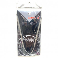 Спицы для вязания круговые металлические  на тросике 80см 5,0 мм