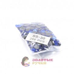 Стразы клеевые стекло SS 30 (упаковка - 288 шт) цвет василёк
