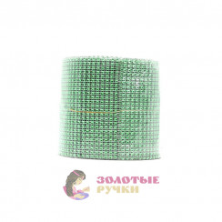 """Стразы на бобине """"имитация """"ширина 12 см в бобине 10 ярд зеленый"""