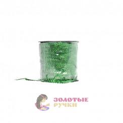 Тесьма пайетки на бабине, диаметр 6 мм в бобине 100 ярдов цвет зеленый голографический