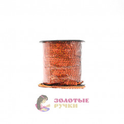 Тесьма пайетки на бабине, диаметр 6 мм в бобине 100 ярдов цвет оранжевый голографический
