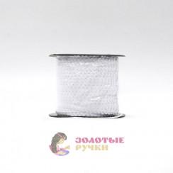 Тесьма пайетки на бабине, диаметр 6 мм в бобине 100 ярдов цвет белый