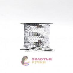 Тесьма пайетки на бабине, диаметр 6 мм в бобине 100 ярдов цвет серебро