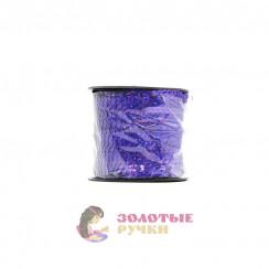 Тесьма пайетки на бабине, диаметр 6 мм в бобине 100 ярдов цвет василек голографический
