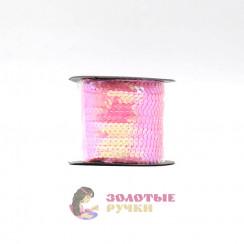 Тесьма пайетки на бабине, диаметр 6 мм в бобине 100 ярдов цвет розовый
