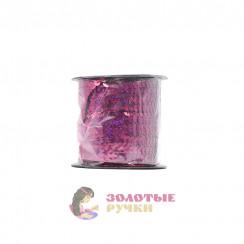 Тесьма пайетки на бабине, диаметр 6 мм в бобине 100 ярдов цвет сиреневый голографический