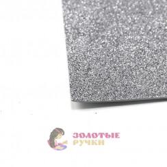 Фоамиран для цветов глиттерный размер 50х50 толщина 2мм цвет серый