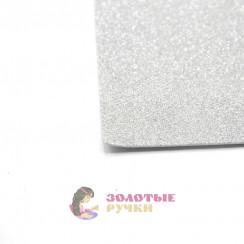 Фоамиран для цветов глиттерный размер 50х50 толщина 2мм цвет серебро