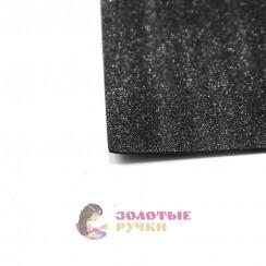Фоамиран для цветов глиттерный размер 50х50 толщина 2мм цвет черный