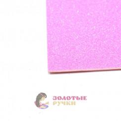 Фоамиран для цветов глиттерный размер 50х50 толщина 2мм цвет розовый