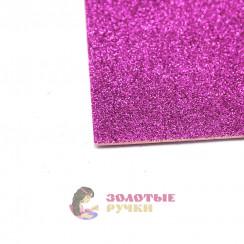 Фоамиран для цветов глиттерный размер 50х50 толщина 2мм цвет фиолетовый